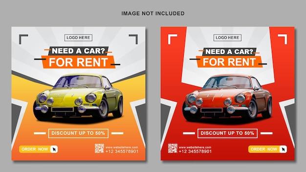 Autovermietung instagram post banner vorlage