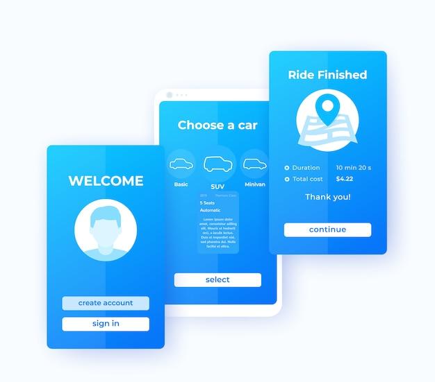 Autovermietung mobile app ui,