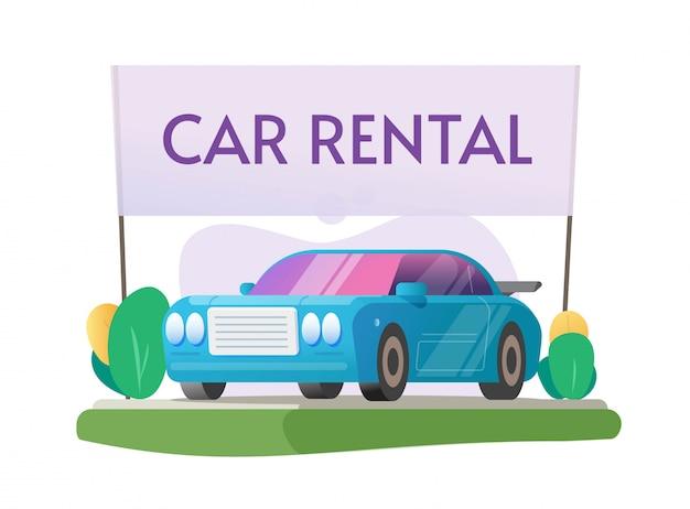 Autovermietung oder mieten sie ein fahrzeug auto cartoon illustration