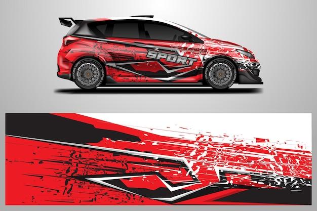 Autoverpackungsdesignvektor grafische abstrakte streifenrennen-hintergrundentwürfe für fahrzeug-rallye-rennen