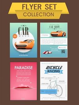 Autowäsche, auto show und fahrrad racing schablone, banner oder flyer sammlung