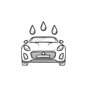 Autowäsche handsymbol gezeichneten umriss doodle. autodusche und autoservice, sauberes und frisches fahrzeugkonzept