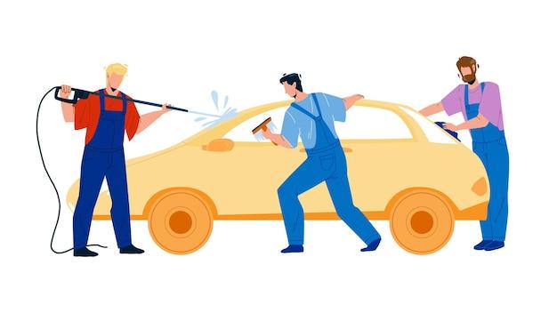 Autowäsche-service-arbeiter, die auto-vektor waschen. autowaschanlage mann mit ausrüstung wassersprühen, reinigen und abwischen von fenstern mit lappen. charaktere business-flache cartoon-illustration