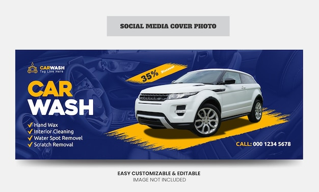 Autowäsche social media facebook cover banner vorlage autowaschservice social media cover