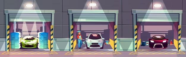 Autowäsche-tankstelle-karikaturillustration. glücklich lächelnd arbeiter waschen