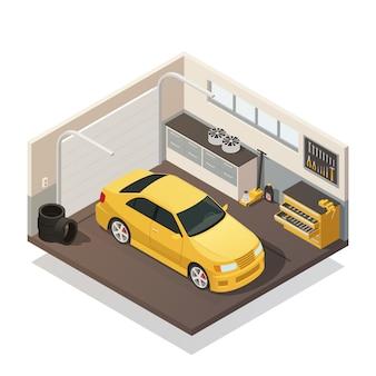 Autowartungs-service-isometrischer innenraum