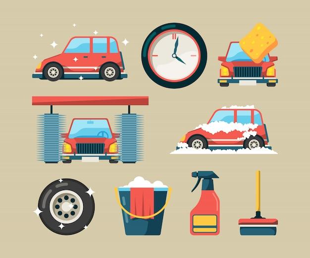 Autowasch-icon-set. schaumrollenwaschmaschinen, welche die selbstservice-karikatursymbole lokalisiert säubern