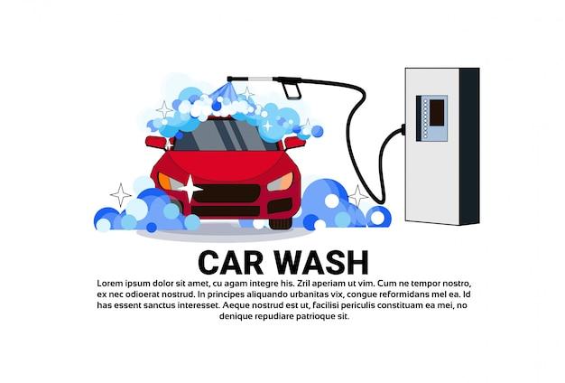 Autowasch-service-fahne mit reinigungs-fahrzeug