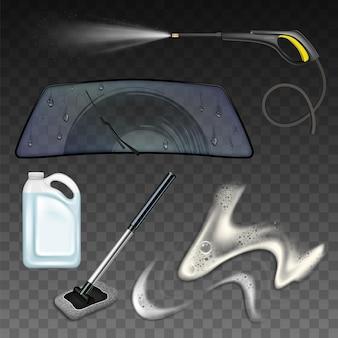 Autowasch-service-tool und zubehör-set. behälterpaket mit chemischer flüssigkeit zum waschen von autoglas und bürste, hochdruckwasserausrüstung und schaum.