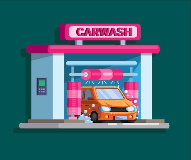 Autowaschanlage automatisches drive-thru-gebäudekonzept im cartoon