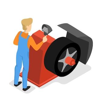 Autowerkstatt. menschen reparieren und pumpen reifen auf