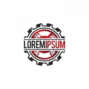 Autowerkstatt mit getriebe und kolben logo