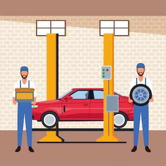 Autowerkstattlandschaft mit angehobenem auto auf maschine und mechanikern, die autoteile halten