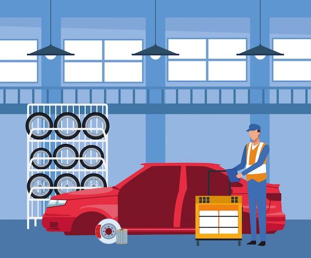 Autowerkstattlandschaft mit autoreifengestell und mechaniker, die an karosserie arbeiten