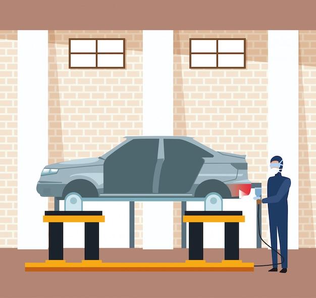 Autowerkstattlandschaft mit dem mann, der ein angehobenes auto malt