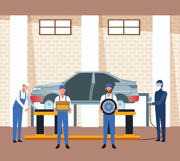 Autowerkstattlandschaft mit mechanik und angehobener karosserie