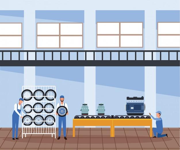 Autowerkstattlandschaft mit mechanikern mit autoreifengestell und autoteilen