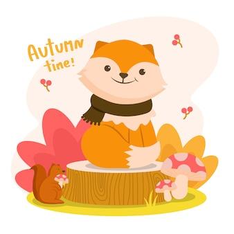 Autumm ist glücklich mit dem fuchs auf einem baumstumpf mit einem eichhörnchen, das einen pilz hält.