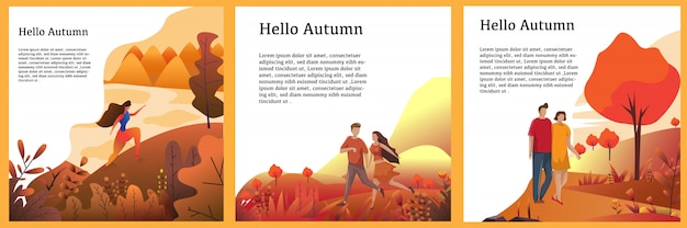 Autumn background concept set vector design