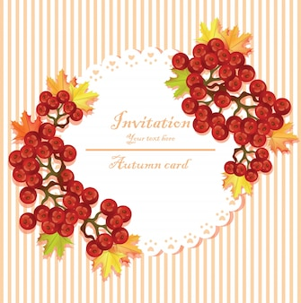 Autumn invitation mit rundem rahmen des viburnum vektors. gestreifte hintergründe
