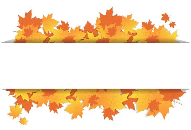 Autumn leaves frame auf hintergrund mit kopien-raum-bunter ahorn-verzierungs-herbstsaison