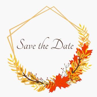 Autumn leaves wreath und save the date text. verwenden sie für die einladung.