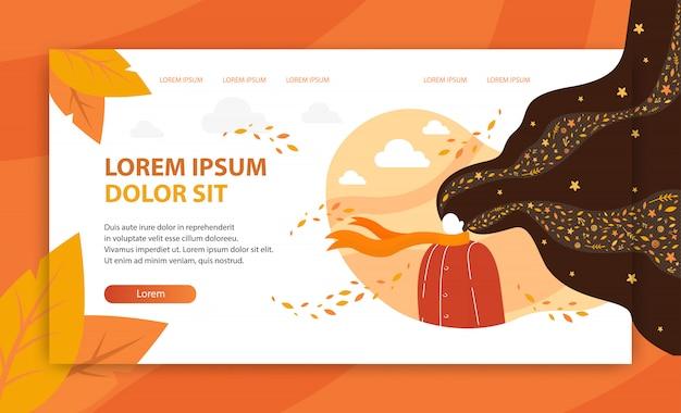 Autumn photoshoot vector landing page template