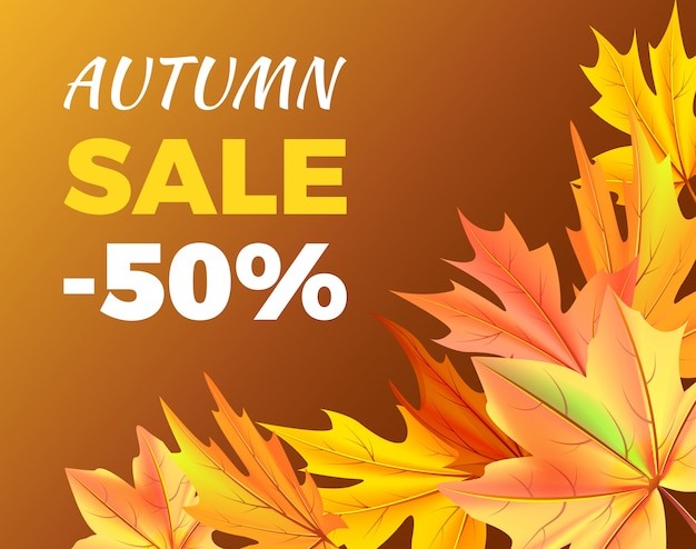 Autumn sale -50% rabatt auf icon illustration