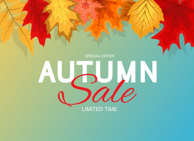 Autumn sale background mit fallendem autumn leaves