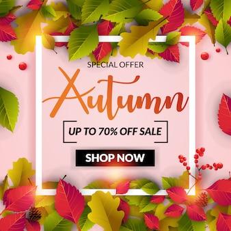 Autumn sale banner mit buntem blatt