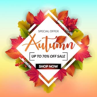 Autumn sale-banner mit bunten urlaub