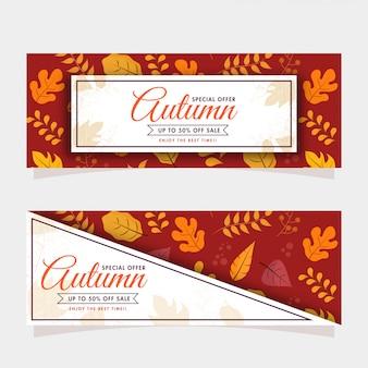 Autumn sale header oder banner set und verschiedene blätter verziert auf rotem braunem und weißem hintergrund.
