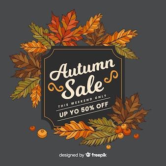 Autumn sale hintergrund retro-stil