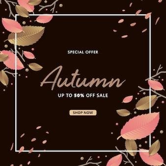 Autumn sale mit herbstlaub auf dunklem hintergrund