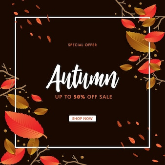 Autumn sale mit zweig- und blatthintergrund