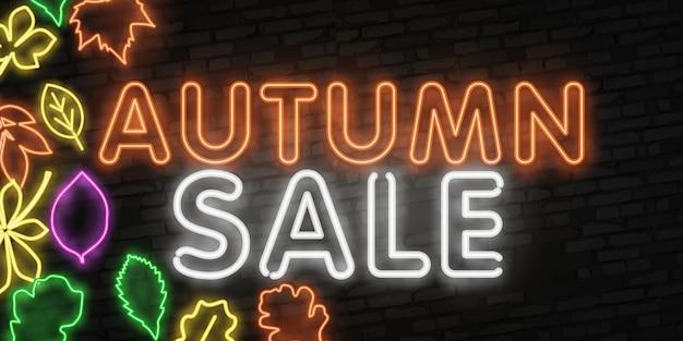 Autumn sale neon schriftzug banner