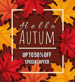 Autumn6leaf herbst quadratischen rahmen herbstsaison hintergrund design