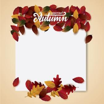 Autumnblank-layout mit blättern zur begrüßung dekorieren.