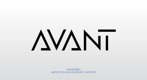 Avant, ein futuristisches schriftdesign. alphabet schriftart mit technologiethema. moderne minimalistische typografie