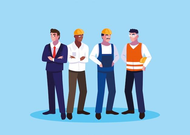 Avatar cartoon ingenieur männer