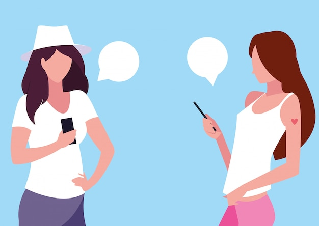 Avatar der jungen frauen, der smartphonegeräte verwendet
