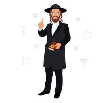 Avatar des judenmannes mit traditionellem kopfschmuck.