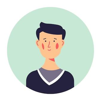 Avatar des männlichen charakters des jungen alters, isoliertes porträt des teenagers im pullover. persönlichkeitsfoto für soziale medien oder lebenslauf, schüler der high school oder der universität. freundlicher kerlvektor in der wohnung