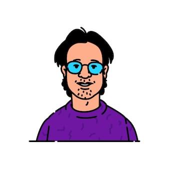 Avatar eines jungen mannes mit brille nerd oder geek-markencharakter für das logo