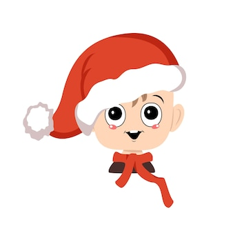 Avatar eines kindes mit großen augen und einem breiten glücklichen lächeln in einer roten weihnachtsmütze süßes kind mit einem fröhlichen gesicht ...