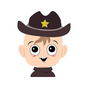 Avatar eines kindes mit großen augen und einem breiten lächeln in einem sheriff-hut mit einem gelben stern süßes kind mit einem...