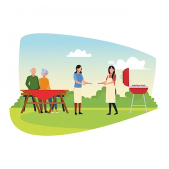 Avatar-familie in einem grill und picknick