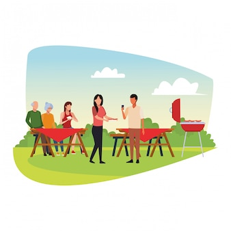 Avatar freunde eine familie, die einen grill und ein picknick genießt