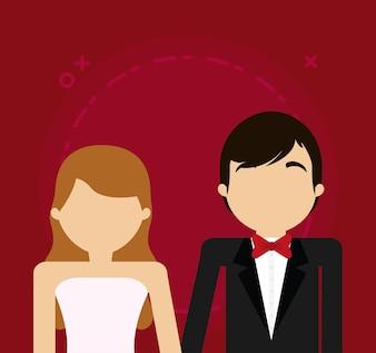 Avatar Hochzeitspaar auf rotem Hintergrund