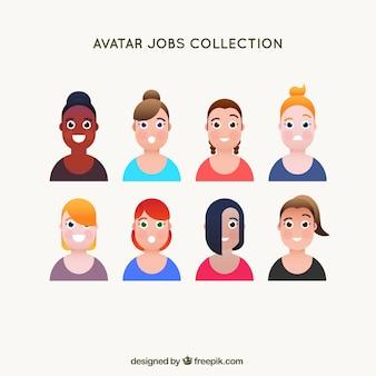 Avatar-kollektion mit verschiedenen smiley-frauen
